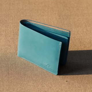 LEATHER SHORT WALLET- BLUE/TEAL