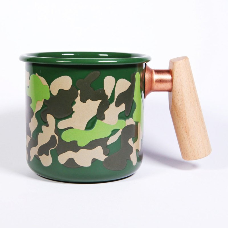 Truvii Wooden Handle Cup 400ml Camouflage Green