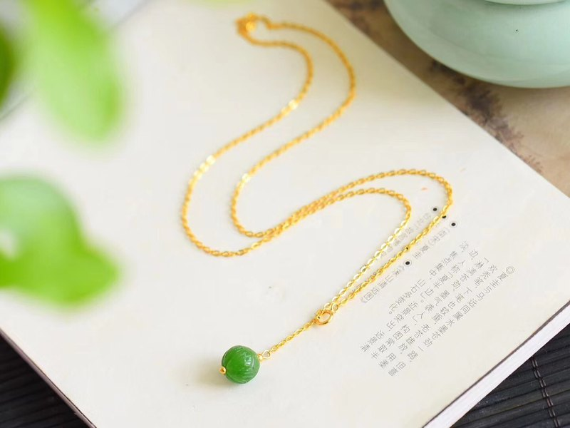 [Welfare price] natural jasper lotus bead clavicle chain / with 925 sterling silver K gold plated chain / simple and exquisite