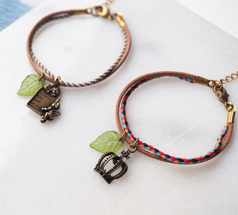 Korea woven cotton embroidered line Crown Angels two color leather rope bracelet P51