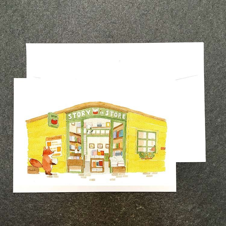 Animal House mall の fox watercolor postcard