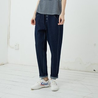 Cotton denim rib waistband pants