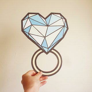 Handmade / Wedding Accessories / big ring / Cartoon diamond ring / Q version of the ring / marry him props perspective Blue Ocean