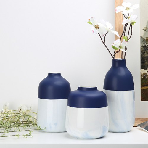 Hand painted blue and white ceramic vase