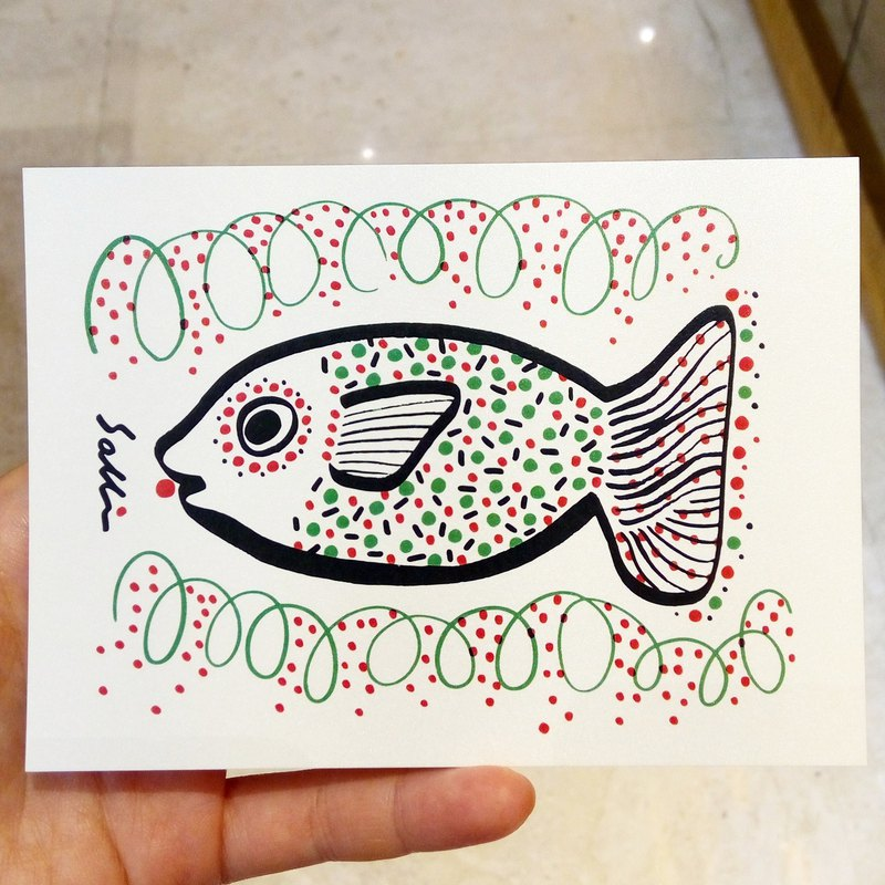 """Daddy Fish"" (Can make A3 size poster) Birthday Card Design Coloring Illustration Photobook Card Universal Card Art Art Modern Lovers Love Special Interesting Weird Characters Weird Cute Taiwan Yellow Fun Funny Eye-catching Tide Art Glitter Flash"