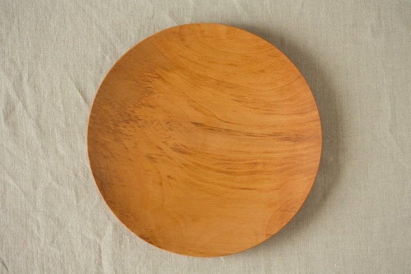 Wood 24cm of the potter's wheel ground wooden plate chestnut (land) 04