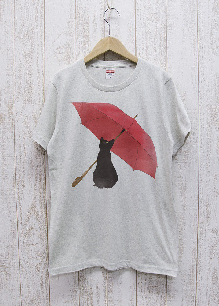 Rainy Black Cat Tee Oatmeal / R039-T-OA