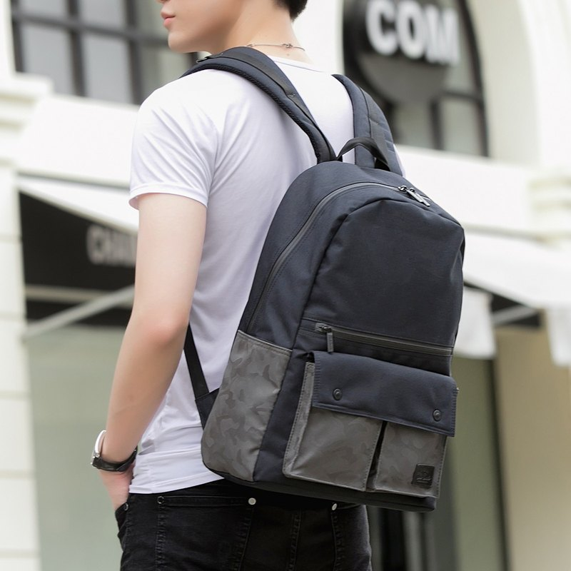 After work, the backpack is ultra-light and water-repellent Urbanist - black with green camouflage