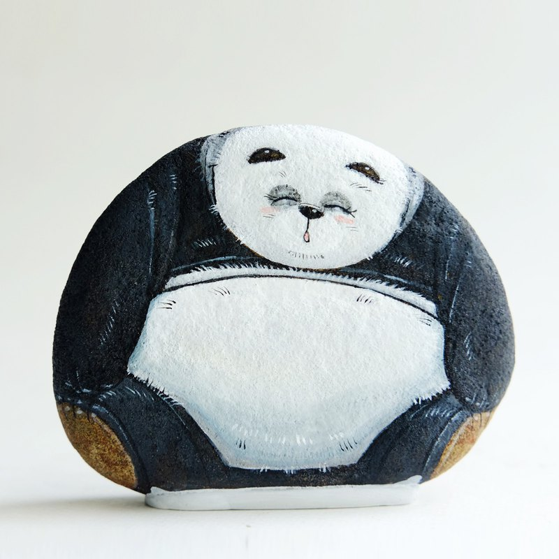 Panda stone painting,original art.