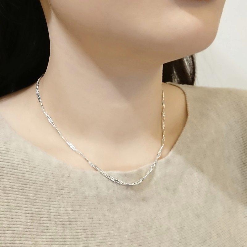 造型純銀項鍊   水波鍊鎖骨鍊 (2.3 mm 寬)