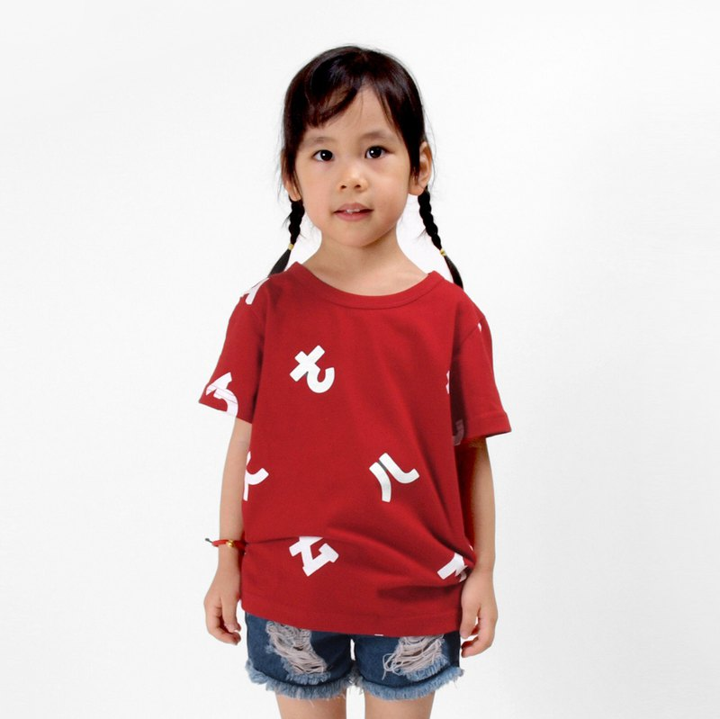 [Children] Taiwan's phonetic symbol short-sleeved print T-shirt-red