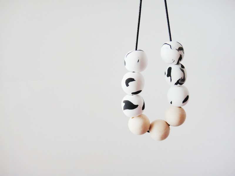 Wooden & Clay Black & White Necklace-4