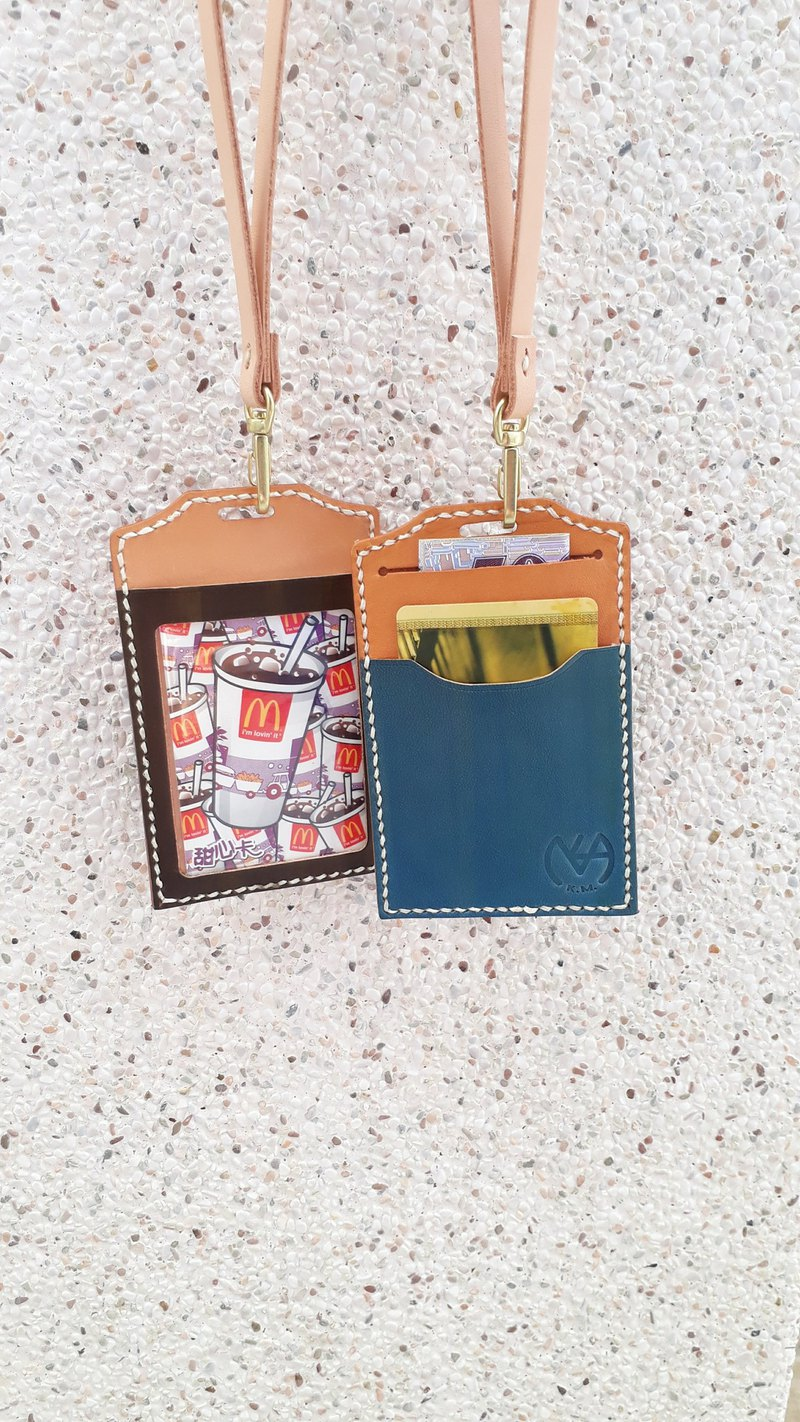 Transparent identification card holder / leisure card holder (with neck strap) │ vegetable tanned leather hand dyed color can be imprinted (10 words)