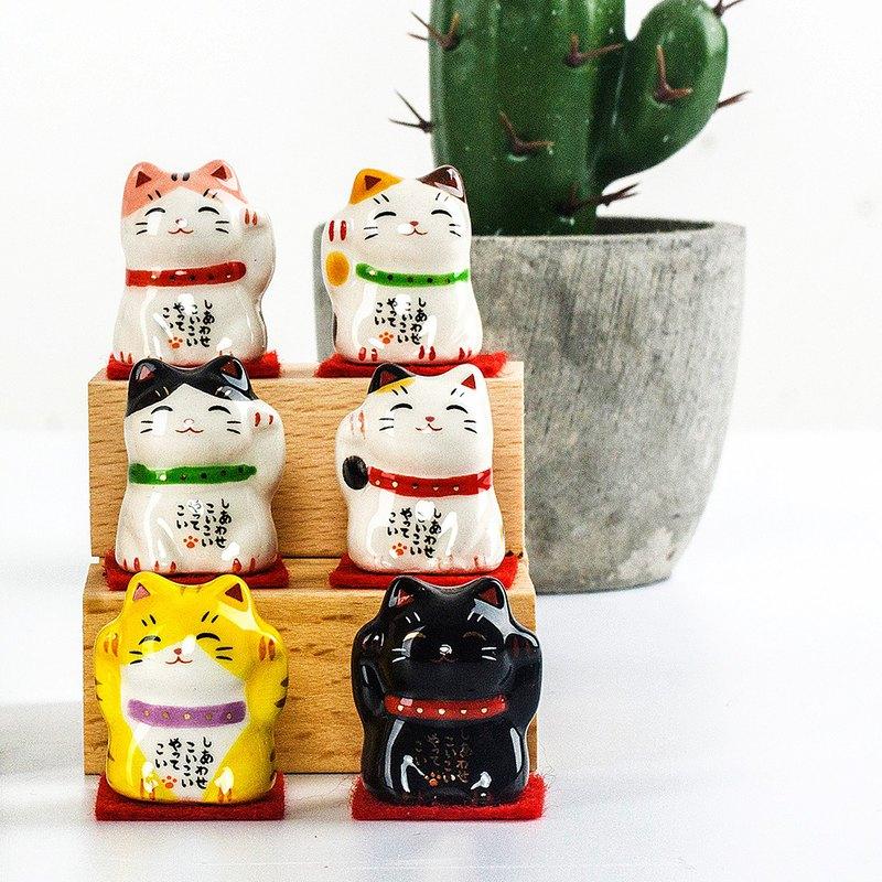 日本藥師窯手工彩繪祈福開運迷您招財貓陶瓷擺件桌面擺件飾品送禮