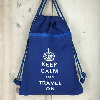 Keep Calm & Travel On Drawstring Backpack - Navy blue