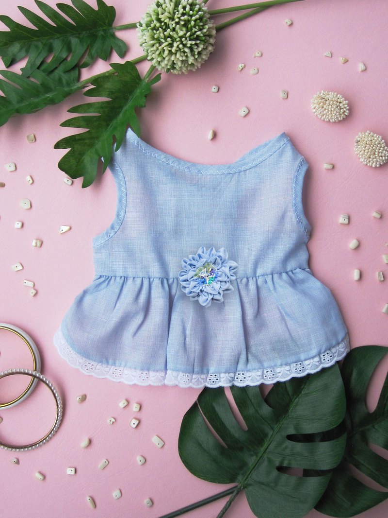 S_kindergarten_ Blue dress with handmade flower and lace trim _dog clothes