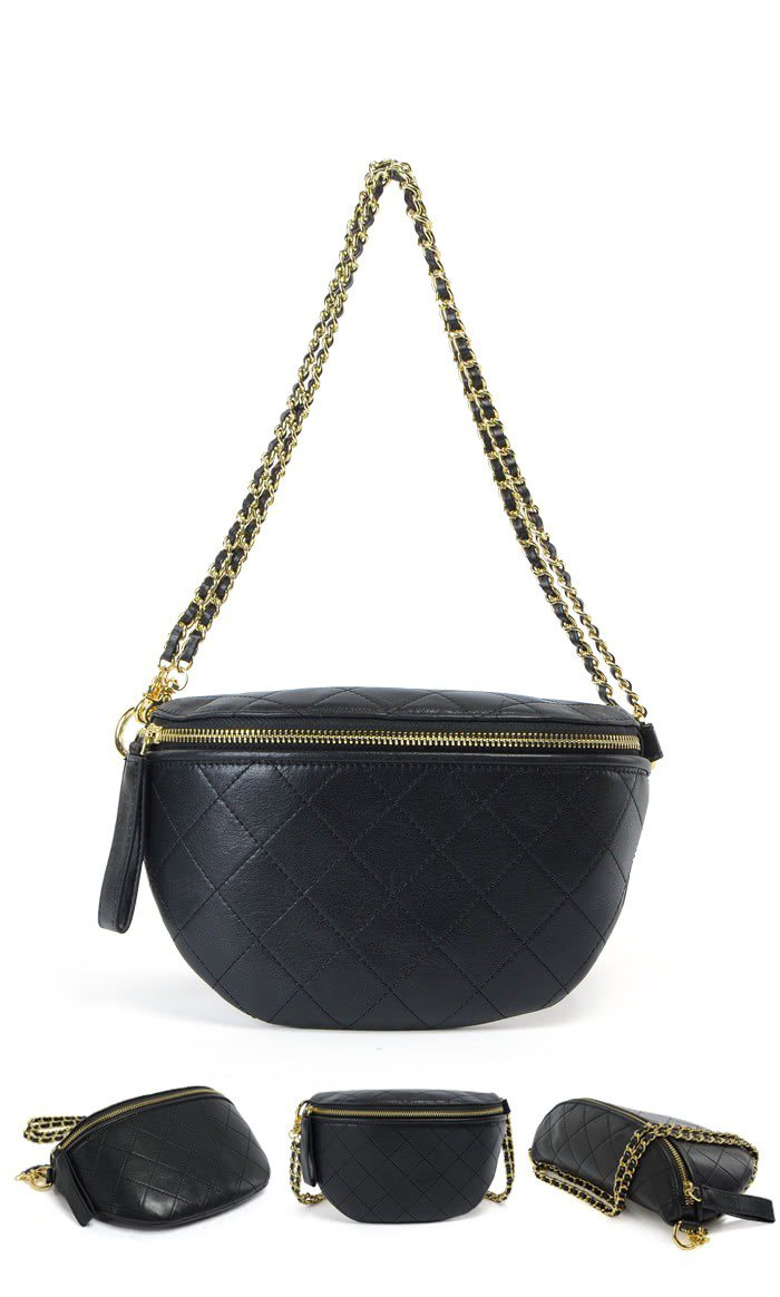 Fashion Girl's Diamond Embossed Leather Chain Bag _ Shoulder Crossbody