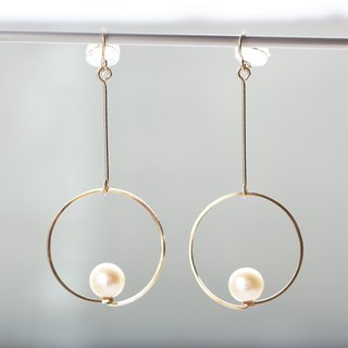 14kgf-floating pearl clip-on耳夾/可換耳環 can change to pierced earrings