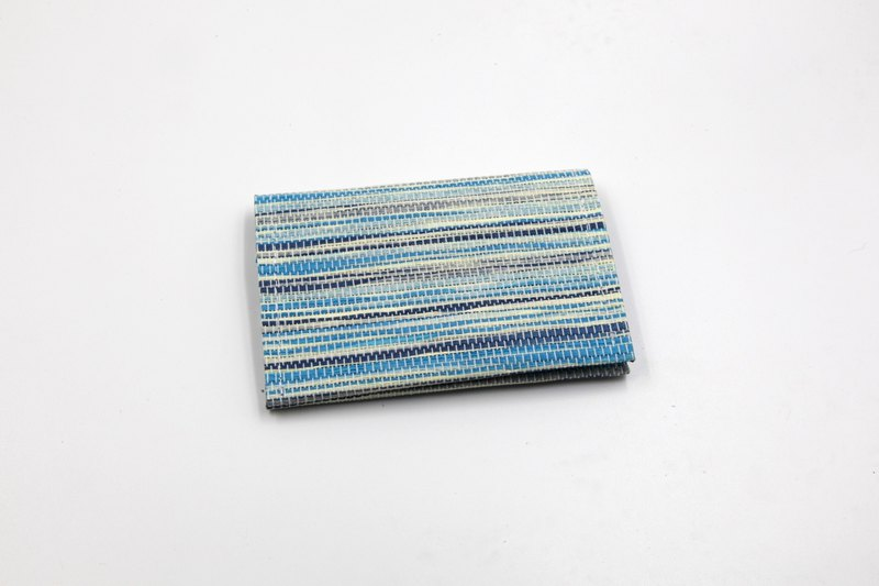 [Paper cloth home] paper line woven business card holder corrugated blue