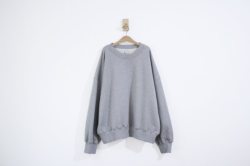 Lightning Line Cuffs Cotton Super Thick Cotton Drop Shoulder Long Sleeve Top-Grey
