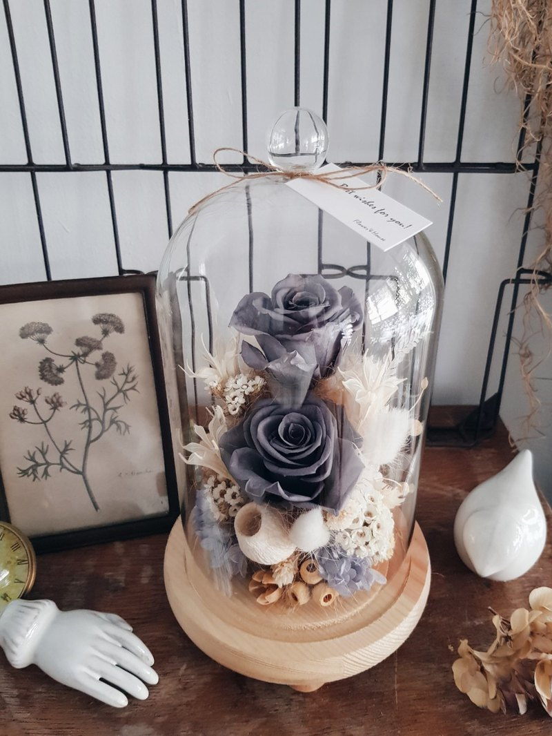 Gray Rose Non-Withered Glass Flower Cup│Eternal Flower