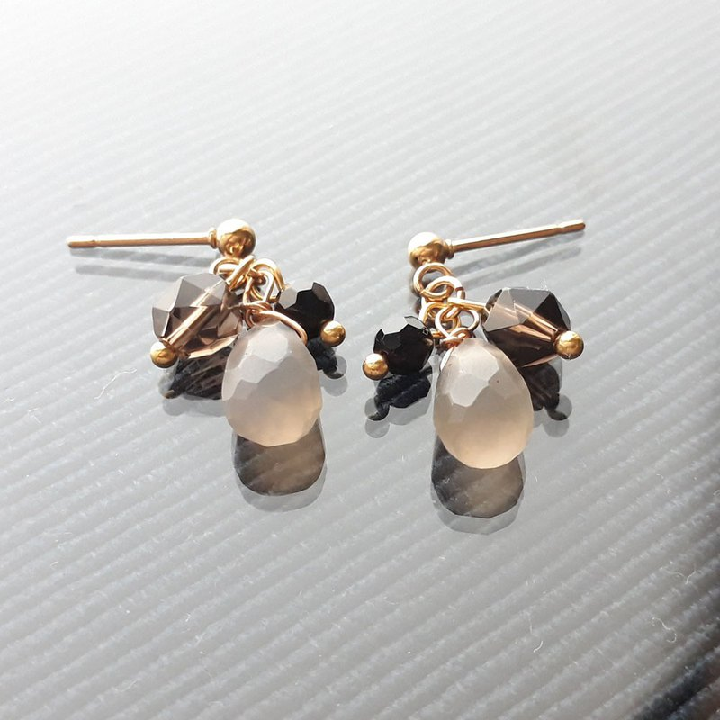 Stainless steel gold grey agate exquisite knot earrings <can be clipped>