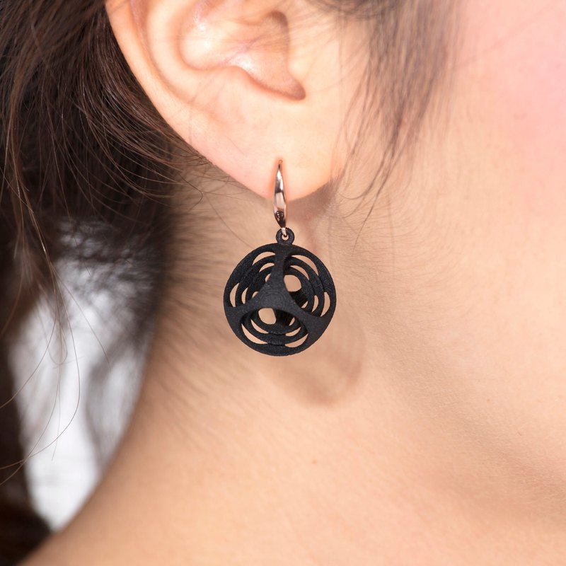 Turner's Rounded Cube Earrings (Black)  | Scaling Collection