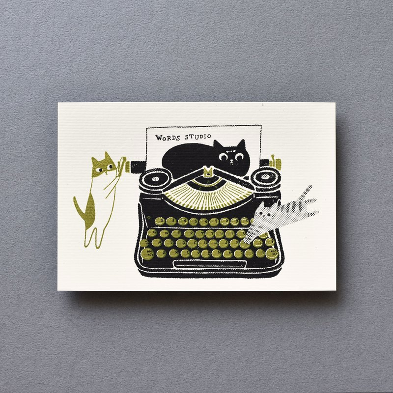 I think of the creation of a joint name postcard - retro green typewriter
