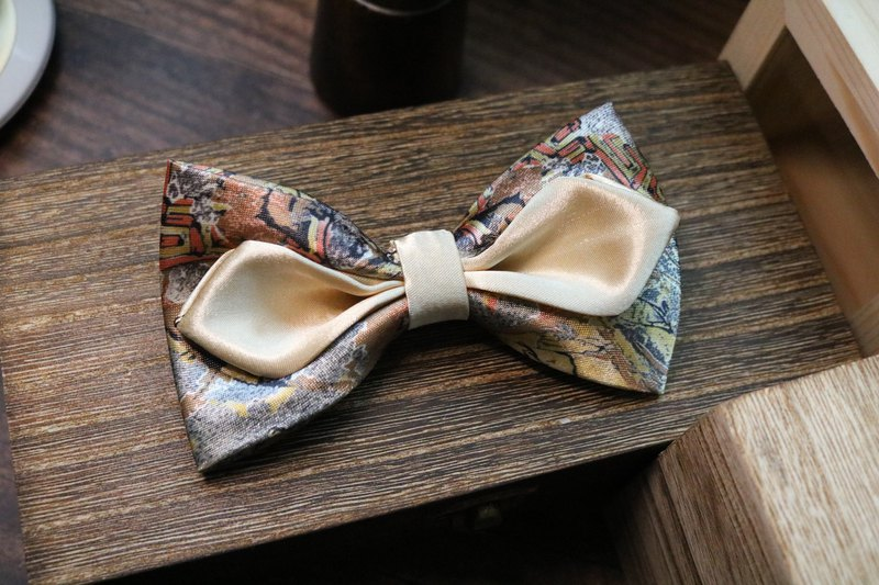 Champagne oil painting sandwich bow tie silk bow tie
