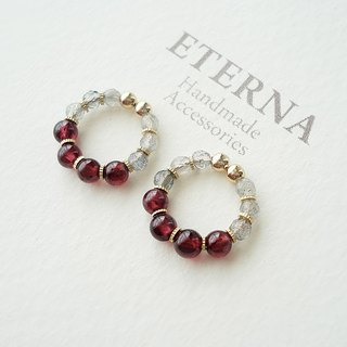 Garnet and Labradorite, tiny hoop earrings 夾式耳環