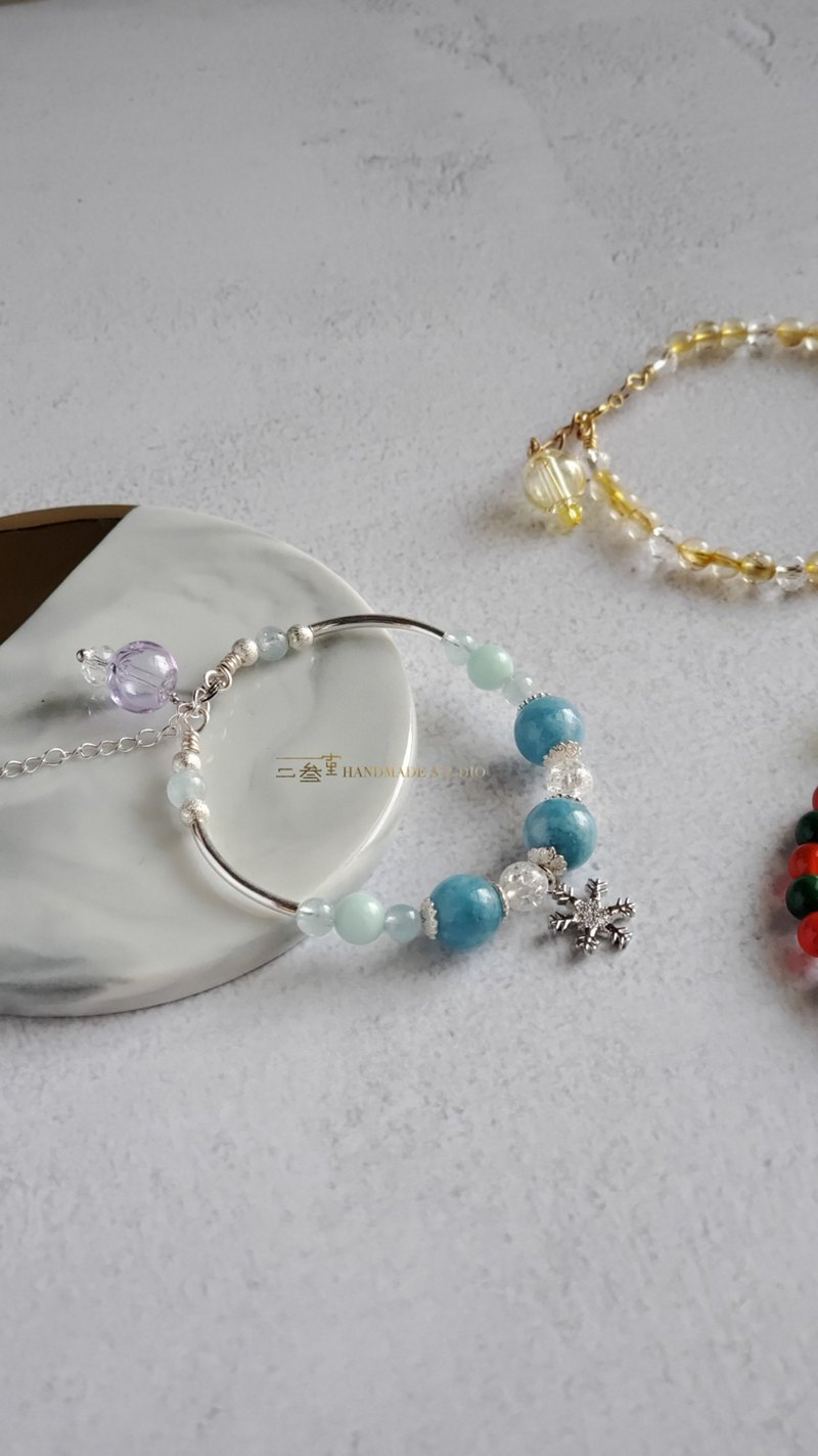 [Two or three room hand-made classroom] Frozen fragrance (essential oil) bracelet (925 silver / aquamarine) customized