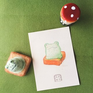 Hand-painted postcards/cool card _ ice cream toast mint chocolate frog