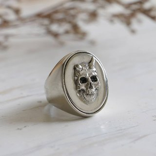 Memento Mori Biker Ring Skull Men's Gifts for Him Signet Fathers Day silver 925