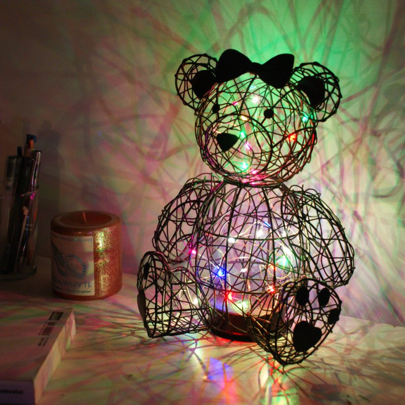 [4U4U] Copper bear style lighting Couple Bear Wire Lights