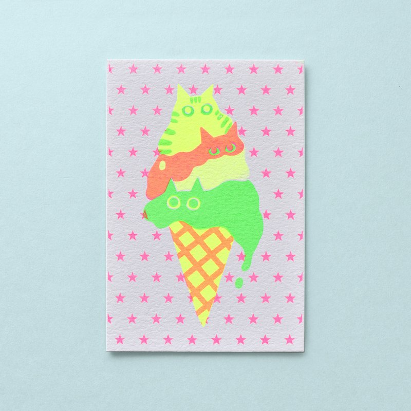 We are melting for you melting ice cream cat handmade net printing 卡片 printed card stars