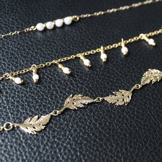 [日日Daily] Pearl leave and pink pearl necklace(three combination)