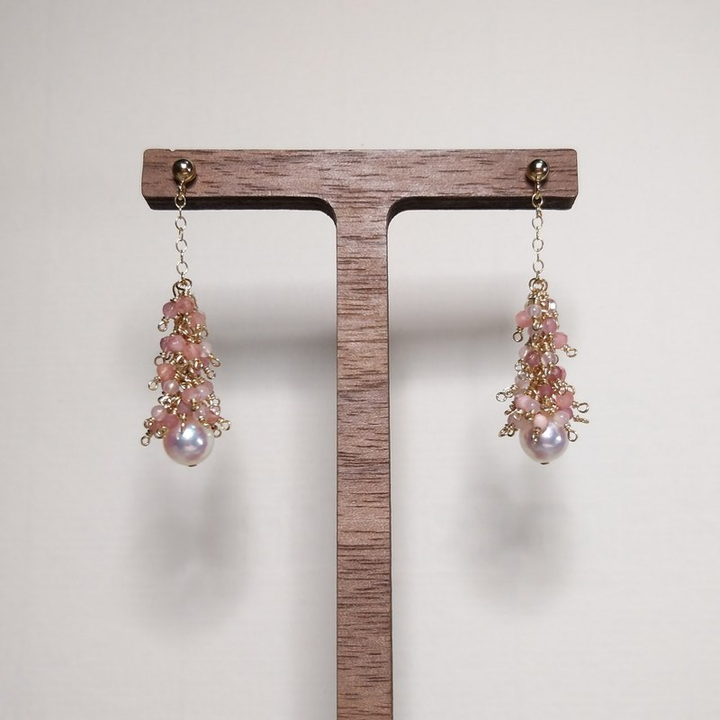 Akoya Sakura: Vivid Japanese Sea Pearl with Pink Stone Earrings (14kgf/handmade)
