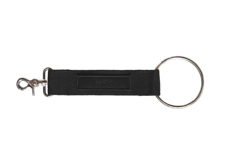 Bev C key chain with metal ring