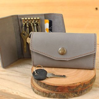 Key Case - H2 (Light Grey) / Key Holder / Key Ring (Genuine Cow Leather)