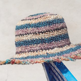 Valentine's Day hand-knit cotton / hat / fisherman hat / sun hat / straw hat / straw hat - blue and purple forest wind lace stripes