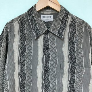 Top / Grey and Black Long-sleeves Shirt