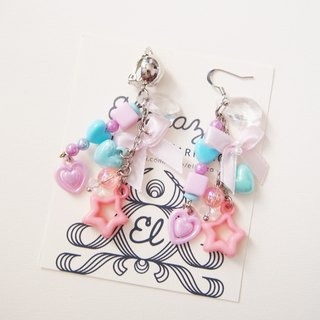 Pastel bead earrings with pink bows