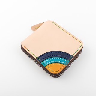 [Cut line] ★ rainbow Bella ★ large-capacity leather handmade retro zipper wallet lady clip clip