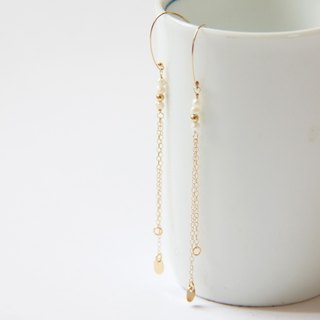 "Jumping ""White"" +1 Natural Freshwater Pearl 14KGF Gold Earrings freshwater pearl"