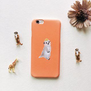 Zoo series fox 獴 persimmon color matte phone matte hard shell