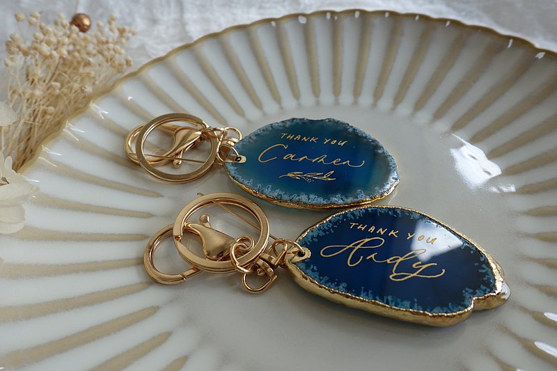 Customized Western English Calligraphy Agate Piece Keychain Valentine's Day Scattering Water Commemorative Wedding Bridal Shower