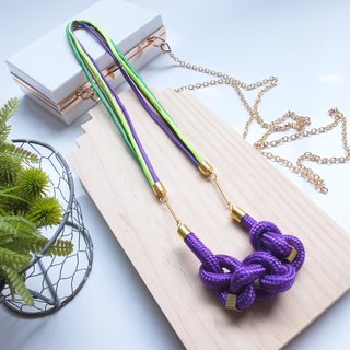 Copper & Rope Hitch Knot Necklace - Purple