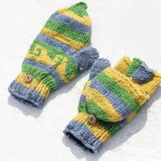 Christmas gift ideas gift exchange gift limited a hand-woven wool knit gloves / detachable gloves / bristle gloves / warm gloves (made in nepal) - blue and green Nordic Forest Nordic Fair Isle totem