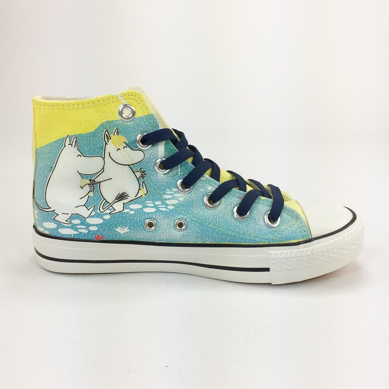 Moomin 噜噜 Mi authorized-canvas shoes (yellow shoes dark blue belt / women's shoes limited)-AE10
