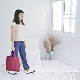 Casual Linen Tote Bag (Red Wine)